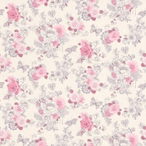 Rasch Portfolio Wallpaper 202304 - Kids Childrens Girls Pink Rose Butterfly Heart