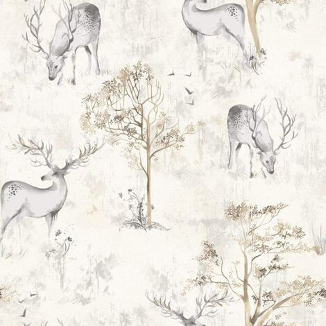 Rasch Portfolio Wallpaper 220919 - Feature Stag Deer Tree Watercolour Natural