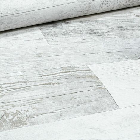 Rasch Rustic Wood Panel Effect Grey White Textured Realistic Wallpaper