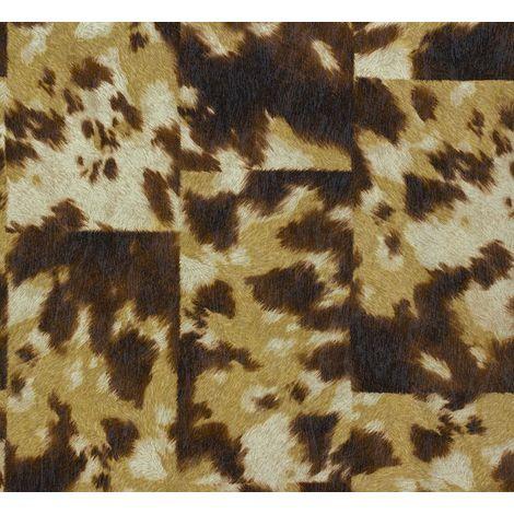 Rasch Safari Fur Effect Animal Skin Wallpaper Cow Brown Cream Beige Paste Wall