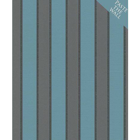 Rasch Stripes Black/ Turquoise Wallpaper
