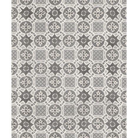 Rasch Tile Effect Grey/ White Wallpaper
