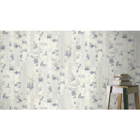 Rasch Toile De Jouy Wallpaper Plank Distressed Wood Grey Beige Blue Paste Wall