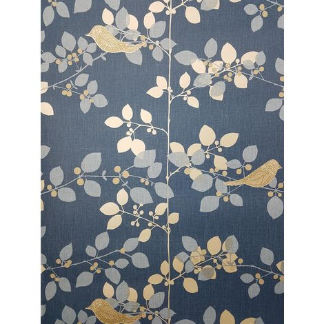 Rasch Tree Blossom Floral Wallpaper Blue Silver Metallic Birds Branch Leaf