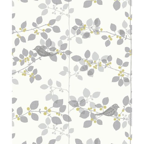 Rasch Tree Blossom Floral Wallpaper White Silver Metallic Birds Branch Leaf