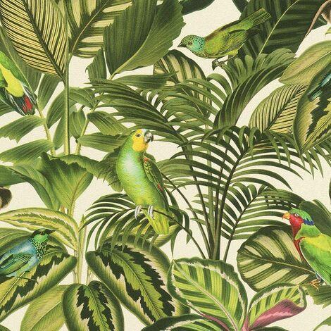 Rasch Tropical Exotic Parrot Bird Jungle Palm Leaf Wallpaper Green Cream 439533