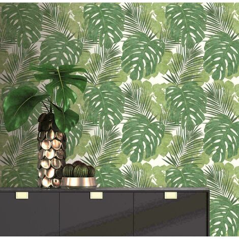 Rasch Tropical Jungle Large Palm Leaf Botanical Floral Green White Wallpaper