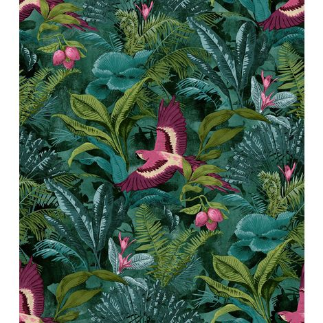 Rasch Tropical Rainforest Wallpaper Botanical Floral Birds Jungle Teal Green