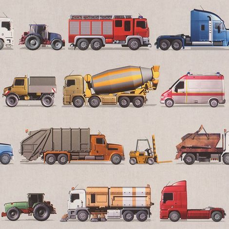 Rasch Trucks Tractors Vehicles Transporters Ambulance Wallpaper Kids Teens Boys