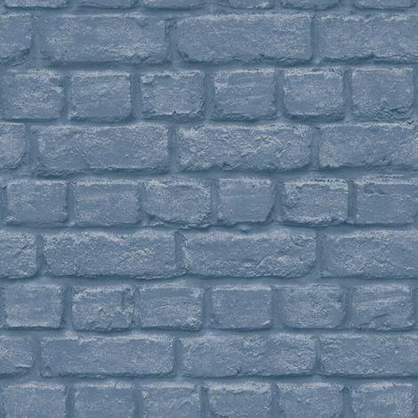 Rasch Urban Brick Effect Blue Wallpaper