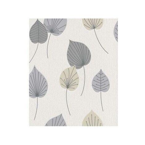 Rasch Vermont 308228 Retro Wallpaper with Vintage 70s Graphic Leaves Beige Grey Neutral