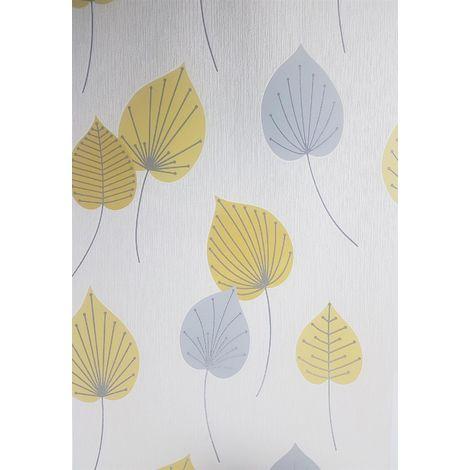 Rasch Vermont Yellow/ Grey Glitter Leaf Wallpaper