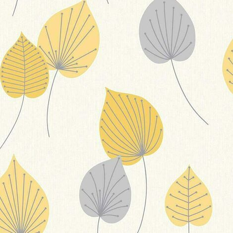 Rasch Wallpaper 308259 Vermont Leaf Yellow and Grey