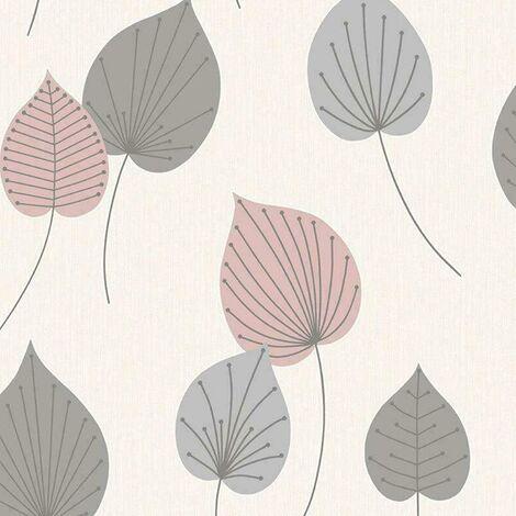 Rasch Wallpaper 308266 Vermont Leaf Pink and Grey