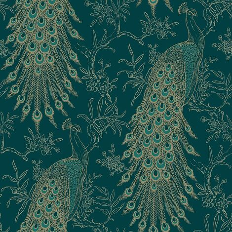 Rasch Wallpaper 405804 Proud Peacock Teal and Gold