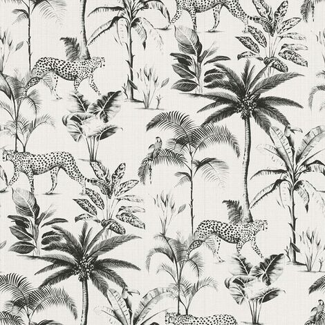 Rasch Wallpaper 409017 Exotic Cheetah White and Black