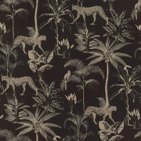Rasch Wallpaper 409031 Exotic Cheetah Black and Gold