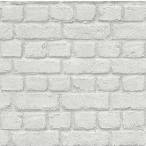 RASCH WHITE BRICK EFFECT FEATURE BRICK WALL DESIGN WALLPAPER 226713 FROM RASCH