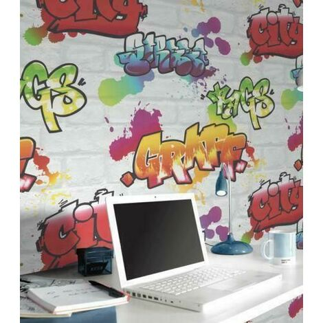 Rasch WHITE GRAFFITI BRICK WALL EFFECT TEENAGE,KIDS ROOM WALLPAPER