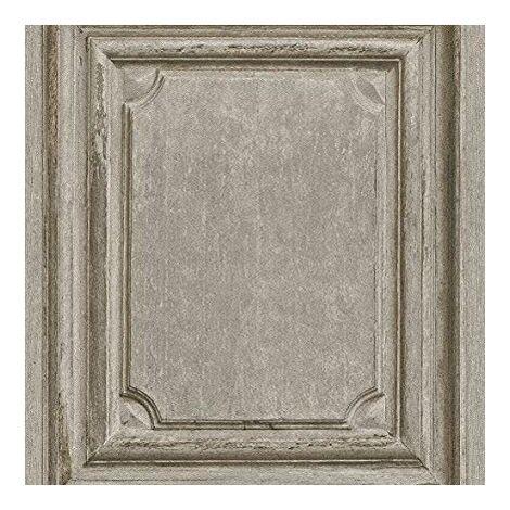 Rasch Wooden Door Pattern Wallpaper Faux Wood Effect Panel Textured (Natural 524406)