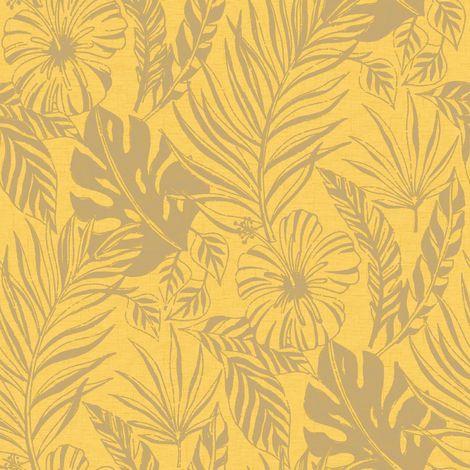 Rasch Yellow/ Gold Tropical Leaf Wallpaper