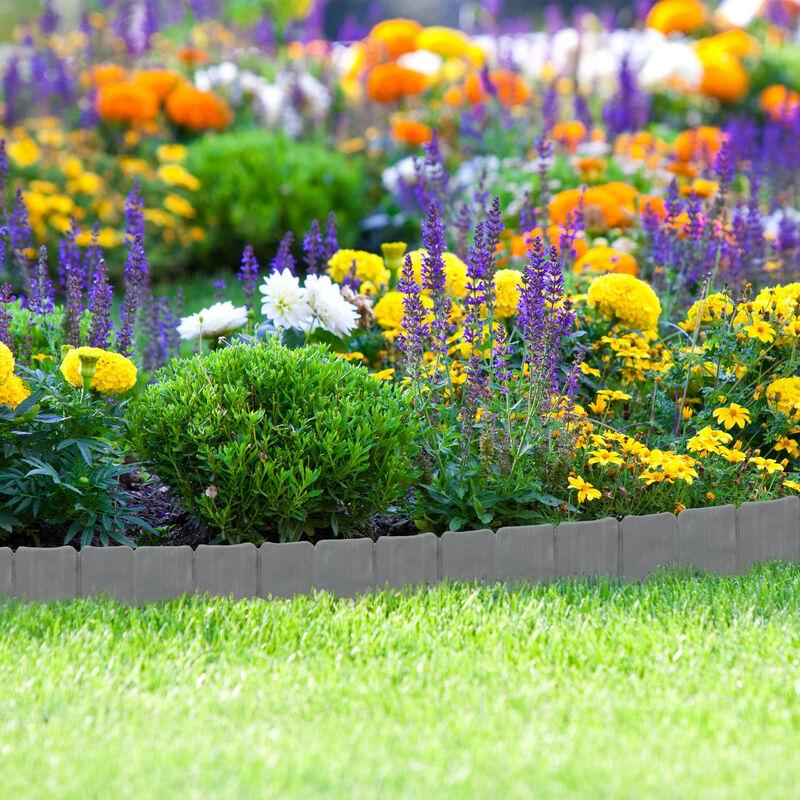 Relaxdays Rasenkante in Steinoptik Mähkante K 10-teilige Umrandung für Beete