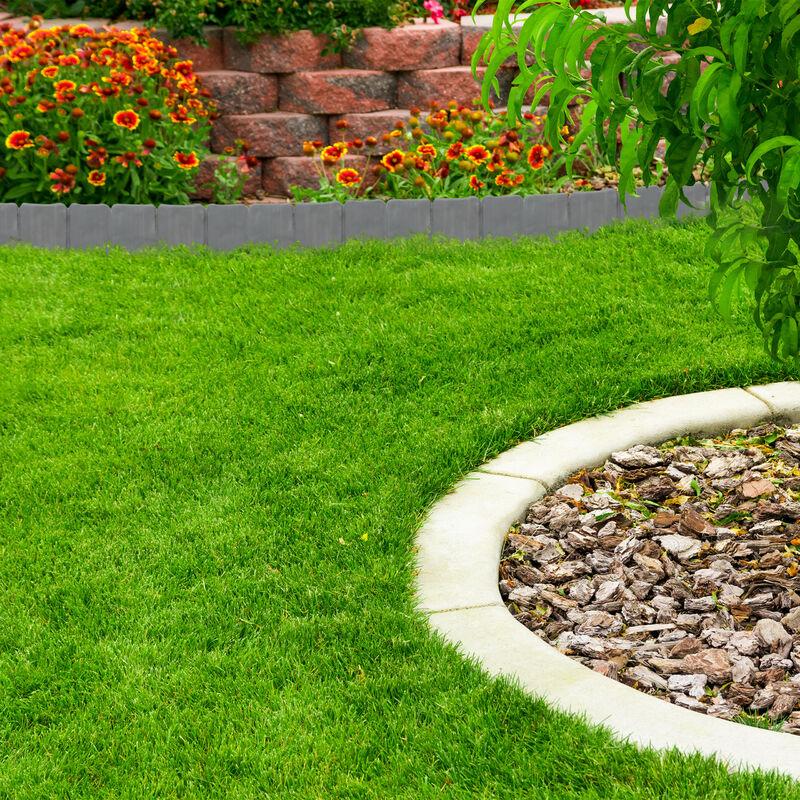 Rasenkante In Steinoptik 10 Teilige Umrandung Für Beete Mähkante Kunststoff Hxbxt 10 X 250 X 2 Cm Grau