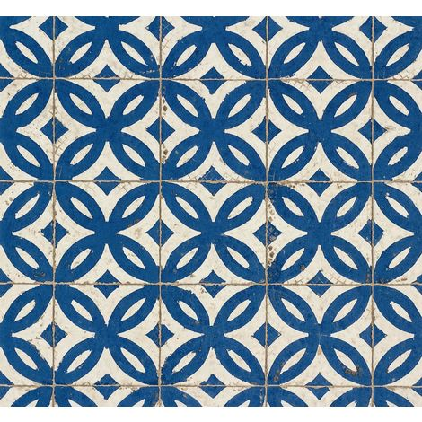 Rash Tile Effect Blue/ White Wallpaper