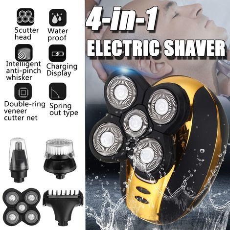 Rasoir électrique 4 en 1 5 têtes Rasoir flottant Rasoir rechargeable sans fil Rasoir à nez Tondeuse à cheveux Tondeuse à barbe