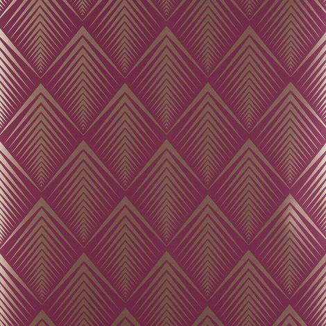 Raspberry Soprano Wallpaper Graham Brown Purple Gold Chevron Metallic