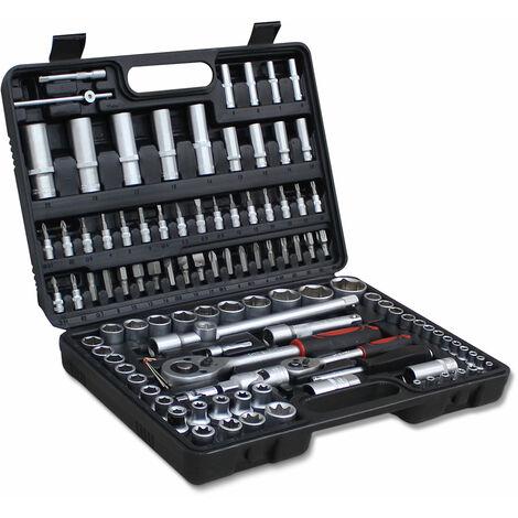 Ratchet Set, Socket Set, with Black case, 108 Parts, Size: 38.5 x 27 x 8.5 cm