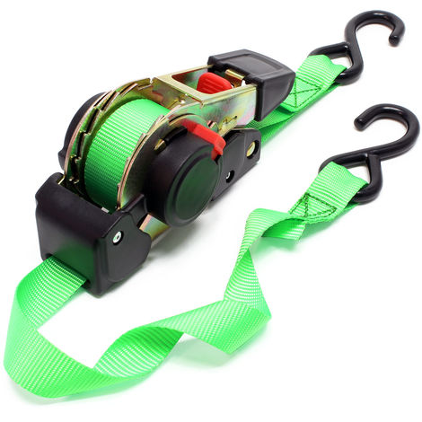 Ratchet Tie Down Strap Lashing Strap Tensioning Belt 1.8mx25mm 320 daN with Retraction Mechanism