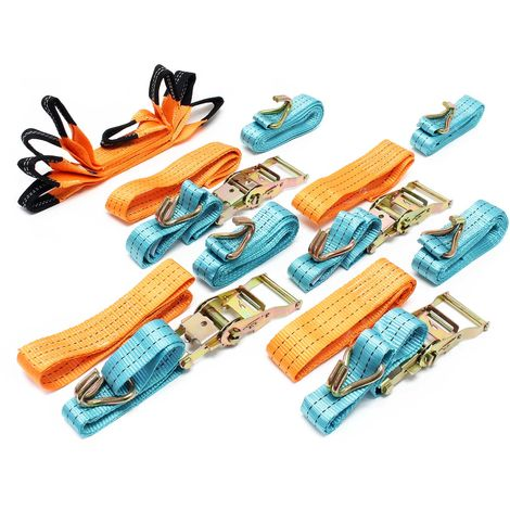 Ratchet Tie Down Strap Set of 4 Straps for Transport with Double J Hook 50mmx3m, 300daN