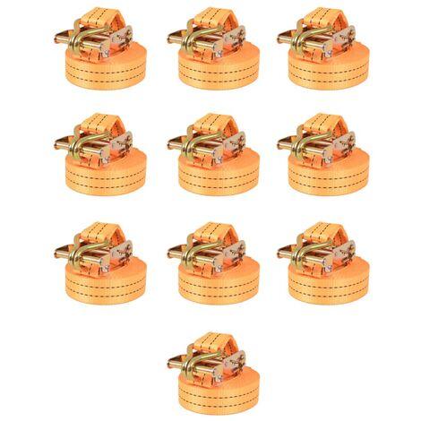 Ratchet Tie Down Straps 10 pcs 1 Tonnes 6mx38mm Orange
