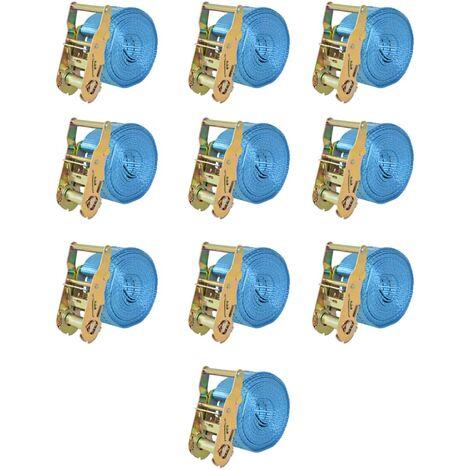 Ratchet Tie Down Straps 10 pcs 2 Tonnes 6mx38mm Blue