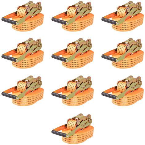 Ratchet Tie Down Straps 10 pcs 2 Tonnes 8mx50mm Orange