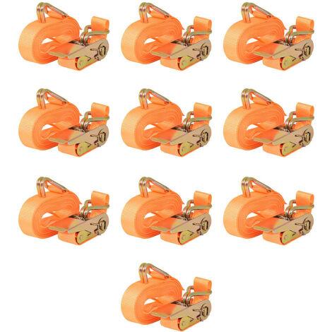 Ratchet Tie Down Straps 10pcs 0.4 Tonnes 6mx25mm Orange