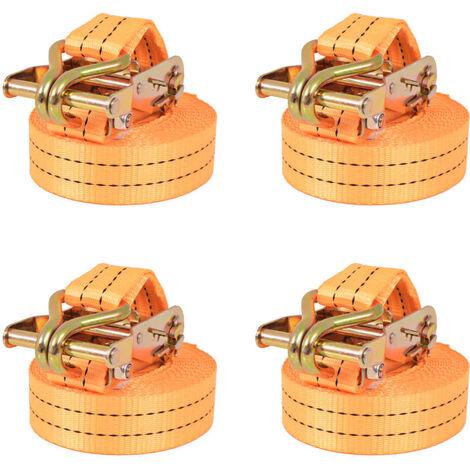 Ratchet Tie Down Straps 4 pcs 1 Tonnes 6mx38mm Orange