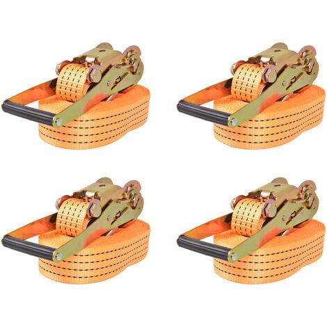 Ratchet Tie Down Straps 4 pcs 2 Tonnes 8mx50mm Orange