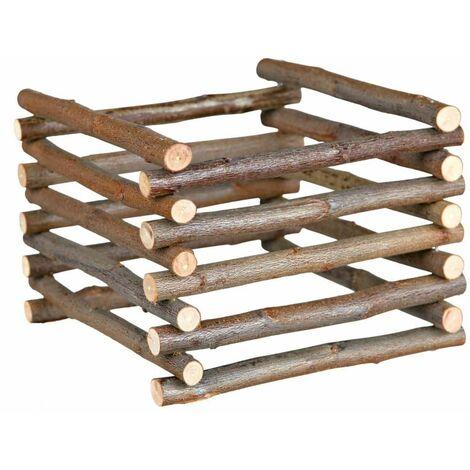 """main image of """"Râtelier à foin à poser, en bois d'écorce - 15 × 11 × 15 cm"""""""