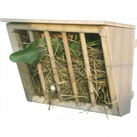 Râtelier à foin en bois avec étage 25 x 17 x 20 cm pour rongeur et lapin Kerbl