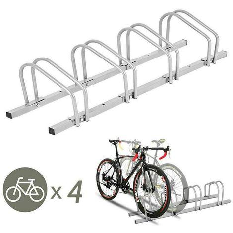 Râtelier Vélo au Sol et Mural, 4 Vélos en Acier 99.5*33*33.7cm Gris