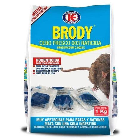 Raticida BRODY Cebo Fresco - Brodifacoum 0,0025% - 1 kg