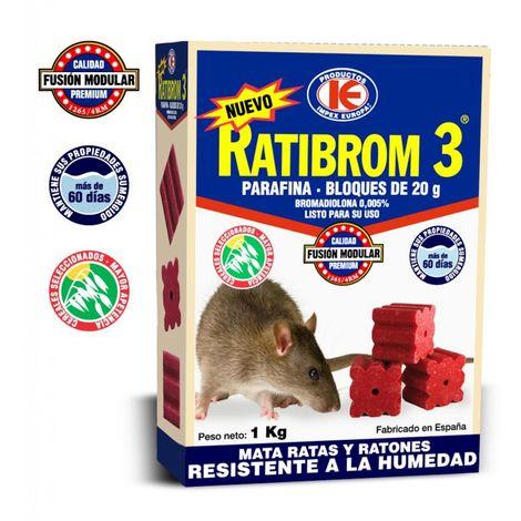 Raticida Ratibrom-3 Bloques 20 Gr Paquete 1 Kg