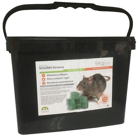 Raticida Sourin Xtreme Frap Bloque, Bloques, 5 kg, Uso Profesional, Difetialona, (Bloques 20 gr)