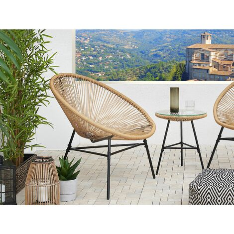 Rattan Accent Chair Beige ACAPULCO