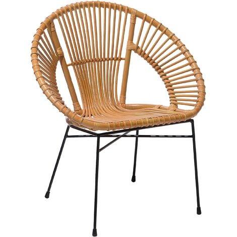 Rattan Accent Chair Beige SARITA