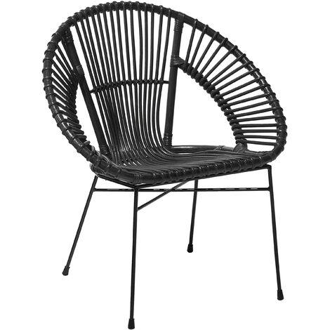 Rattan Accent Chair Black SARITA