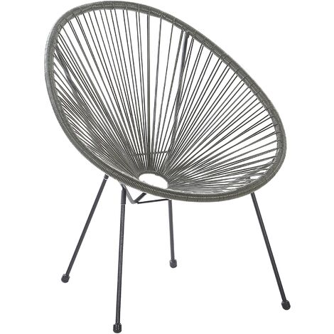 Rattan Accent Chair Dark Grey ACAPULCO II