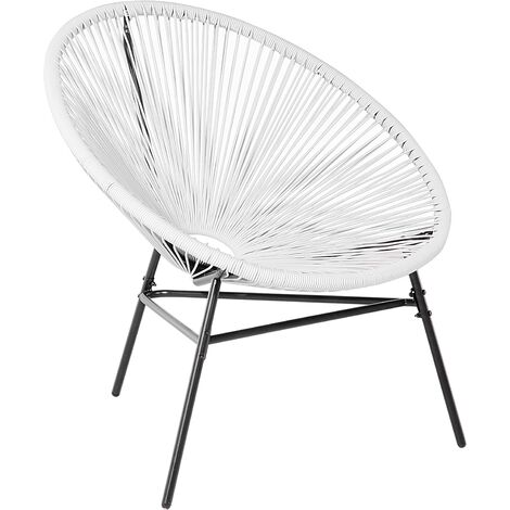 Rattan Accent Chair White ACAPULCO